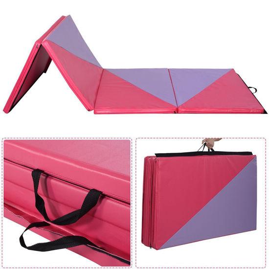 "Picture of Folding Tumbling Gymnastics Mat Pink/Purple - 4' x 10' x 2"""
