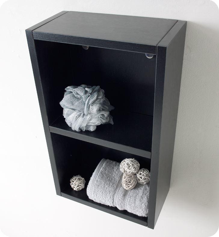 Picture of Fresca Black Bathroom Linen Side Cabinet w/ 2 Open Storage Areas
