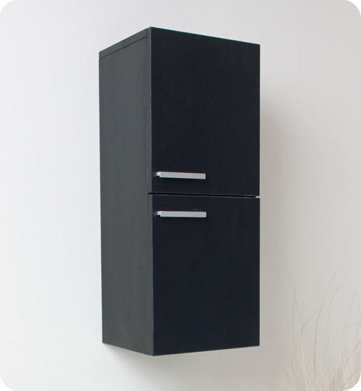 Picture of Fresca Black Bathroom Linen Side Cabinet w/ 2 Storage Areas