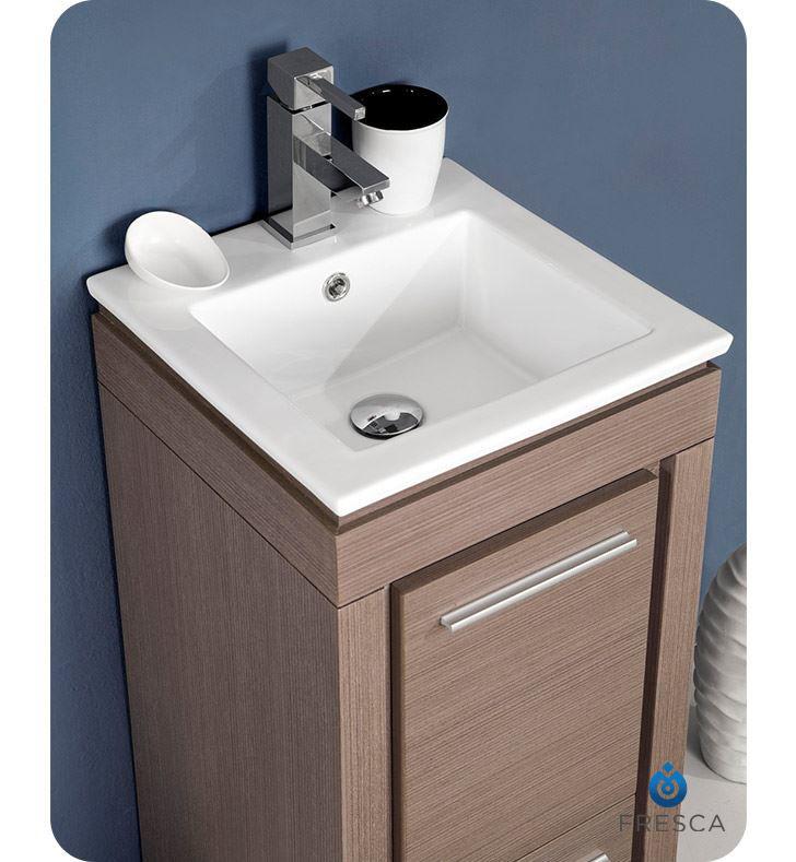 "Picture of Fresca Allier 16"" Gray Oak Modern Bathroom Vanity with Mirror"