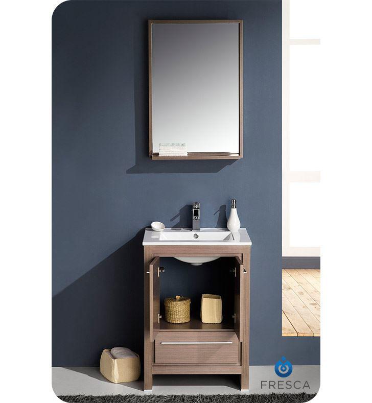 "Picture of Fresca Allier 24"" Gray Oak Modern Bathroom Vanity with Mirror"