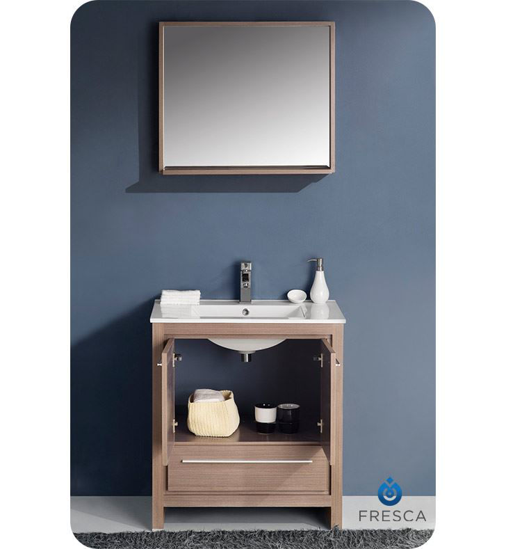 "Picture of Fresca Allier 30"" Gray Oak Modern Bathroom Vanity with Mirror"