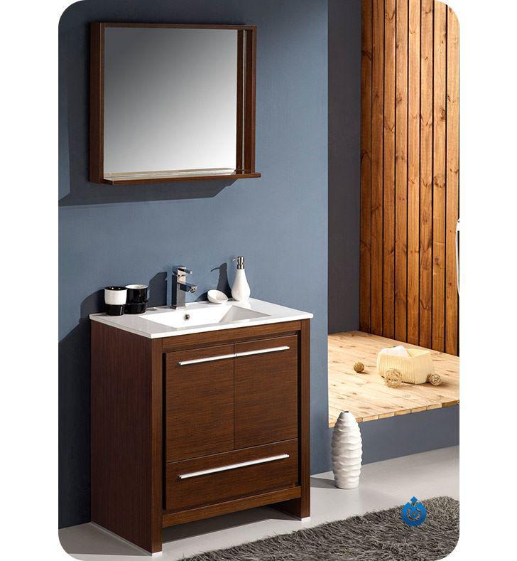 "Picture of Fresca Allier 30"" Wenge Brown Modern Bathroom Vanity w/ Mirror"