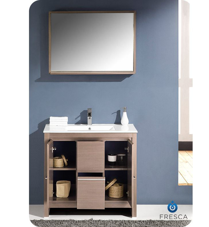 "Picture of Fresca Allier 36"" Gray Oak Modern Bathroom Vanity with Mirror"
