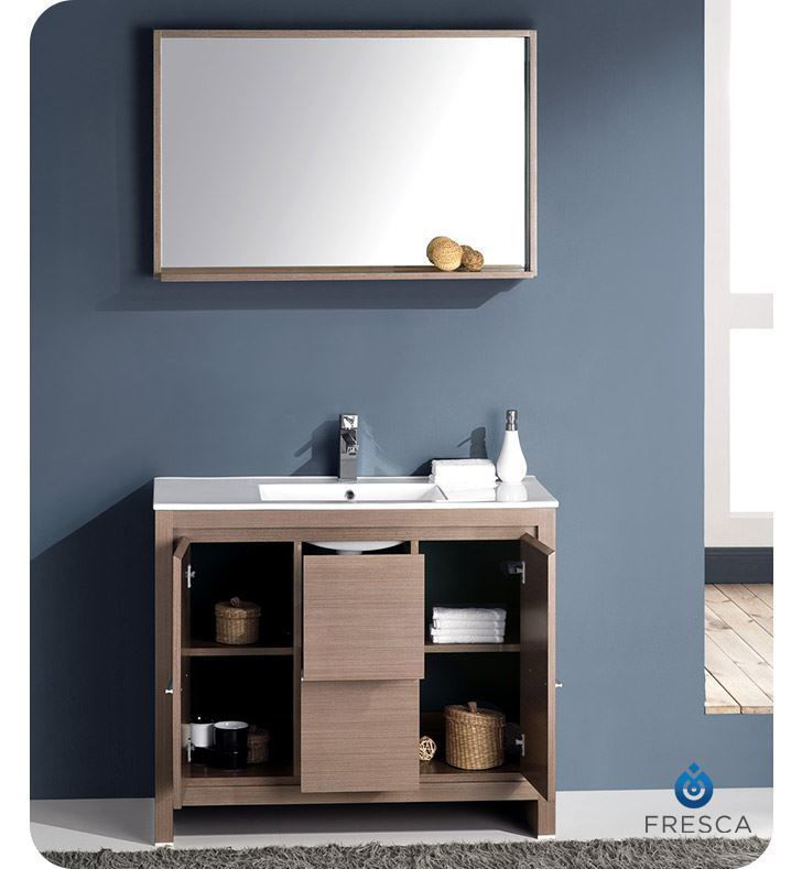 """Picture of Fresca Allier 40"""" Gray Oak Modern Bathroom Vanity w/ Mirror"""