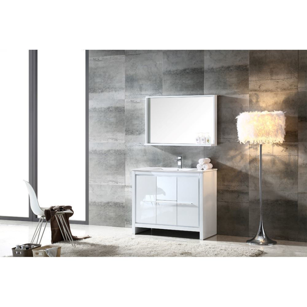 """Picture of Fresca Allier 40"""" White Modern Bathroom Vanity w/ Mirror"""