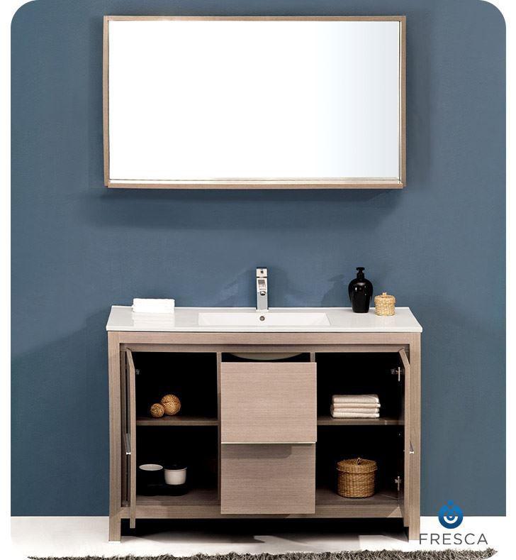 """Picture of Fresca Allier 48"""" Gray Oak Modern Bathroom Vanity w/ Mirror"""