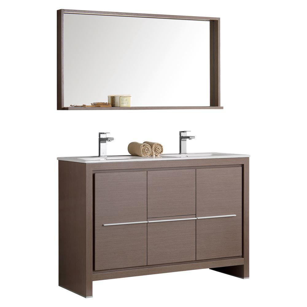 """Picture of Fresca Allier 48"""" Gray Oak Modern Double Sink Bathroom Vanity w/ Mirror"""