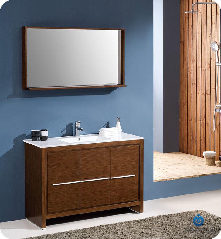 "Picture of Fresca Allier 48"" Wenge Brown Modern Bathroom Vanity w/ Mirror"