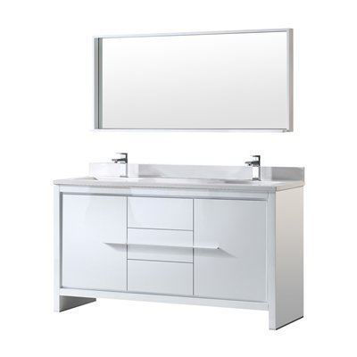 "Picture of Fresca Allier 60"" White Modern Double Sink Bathroom Vanity w/ Mirror"