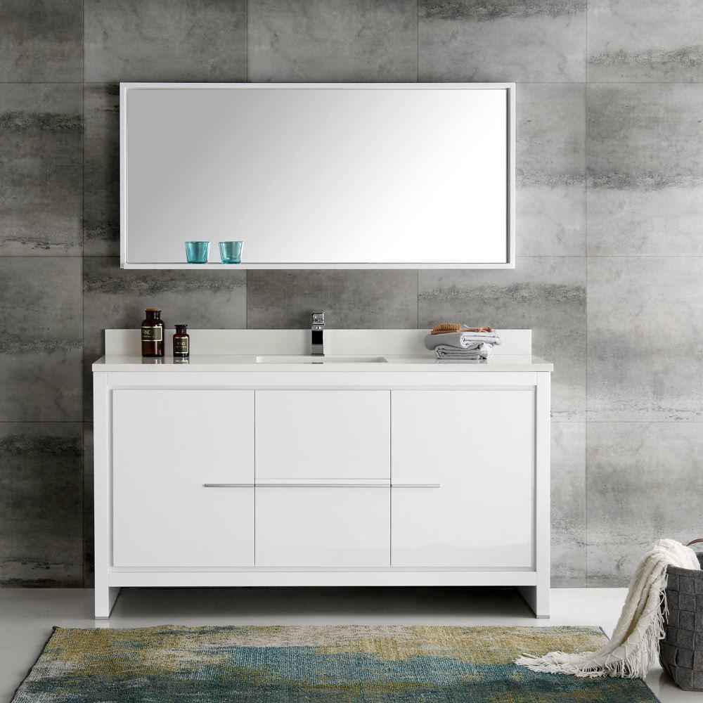 "Picture of Fresca Allier 60"" White Modern Single Sink Bathroom Vanity w/ Mirror"