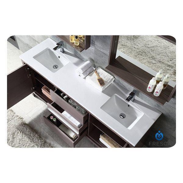 """Picture of Fresca Allier 72"""" Gray Oak Modern Double Sink Bathroom Vanity w/ Mirror"""