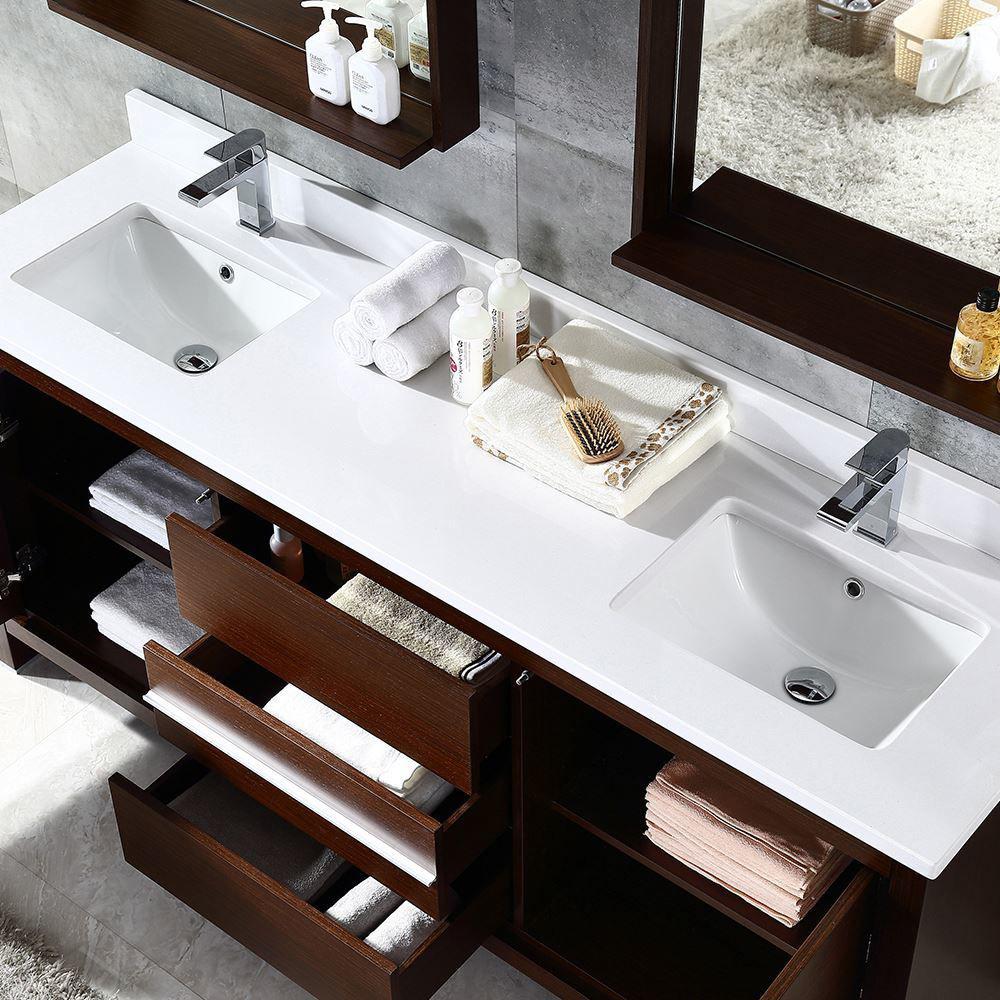 "Picture of Fresca Allier 72"" Wenge Brown Modern Double Sink Bathroom Vanity w/ Mirror"