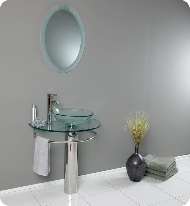 """Picture of Fresca Attrazione 30"""" Modern Glass Bathroom Vanity with Frosted Edge Mirror"""