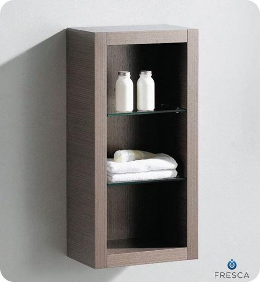 Picture of Fresca Gray Oak Bathroom Linen Side Cabinet w/ 2 Glass Shelves