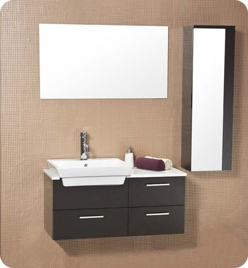 """Picture of Fresca Caro 36"""" Espresso Modern Bathroom Vanity with Mirrored Side Cabinet"""