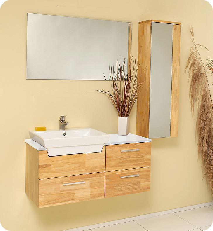 """Picture of Fresca Caro 36"""" Natural Wood Modern Bathroom Vanity with Mirrored Side Cabinet"""