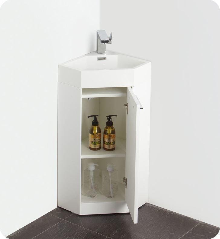 "Picture of Fresca Coda 14"" White Modern Corner Bathroom Vanity"
