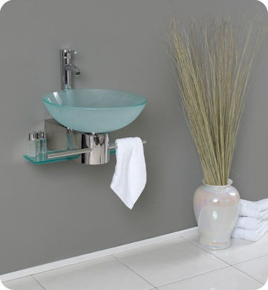 """Picture of Fresca Cristallino 18"""" Modern Glass Bathroom Vanity with Frosted Vessel Sink"""