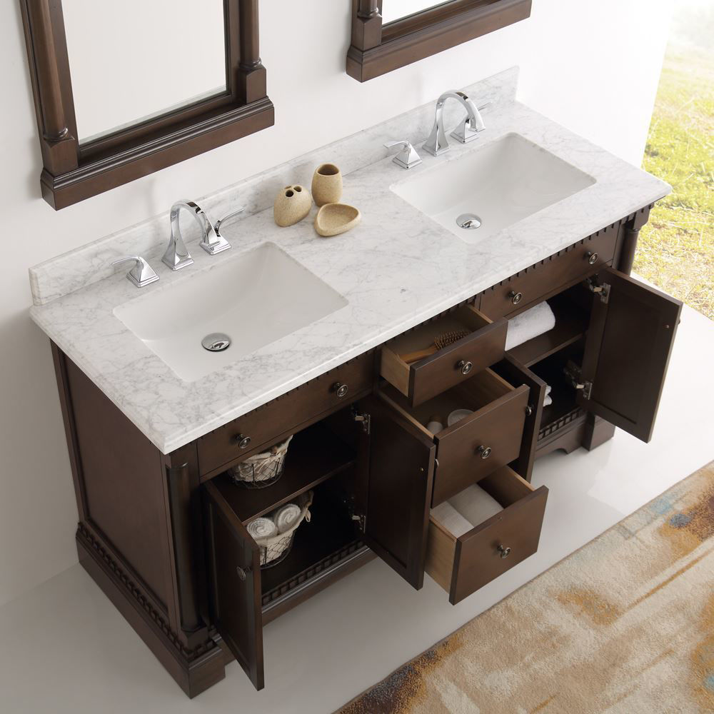 """Picture of Fresca Kingston 61"""" Antique Coffee Double Sink Traditional Bathroom Vanity with Mirrors"""