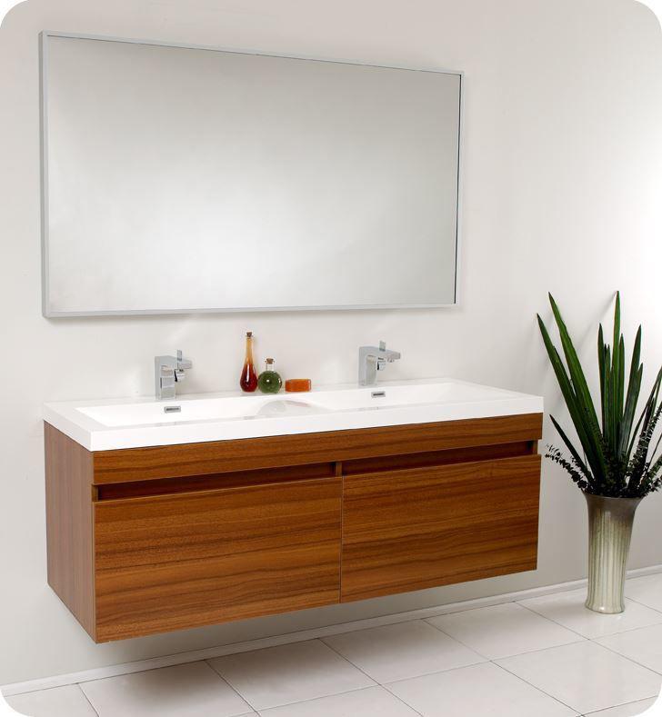 "Picture of Fresca Largo 57"" Teak Modern Bathroom Vanity with Wavy Double Sinks"