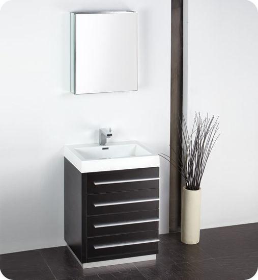 "Picture of Fresca Livello 24"" Black Modern Bathroom Vanity w/ Medicine Cabinet"