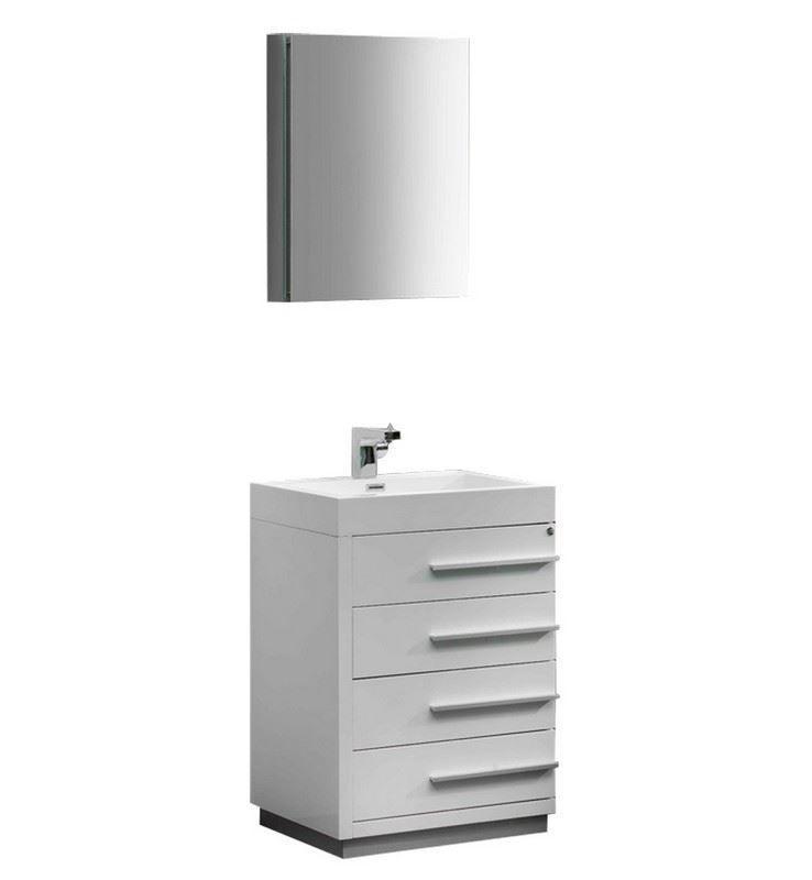 """Picture of Fresca Livello 24"""" White Modern Bathroom Vanity w/ Medicine Cabinet"""