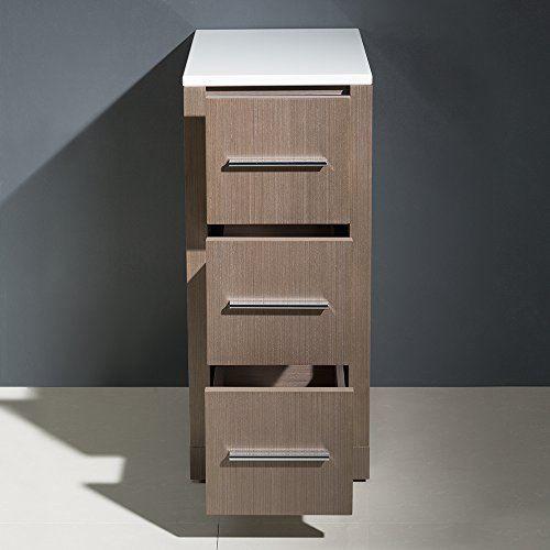 "Picture of Fresca Torino 12"" Gray Oak Bathroom Linen Side Cabinet"