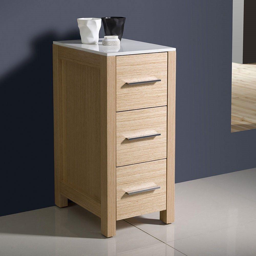 """Picture of Fresca Torino 12"""" Light Oak Bathroom Linen Side Cabinet"""