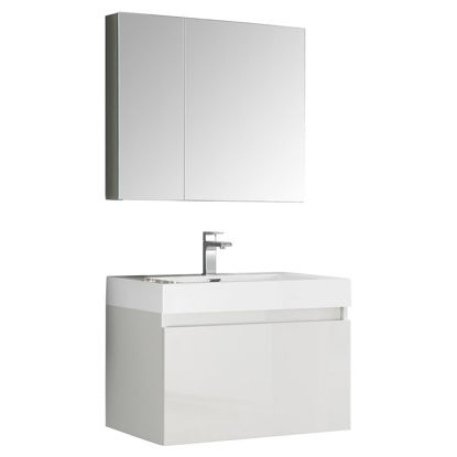 """Picture of Fresca Mezzo 30"""" White Wall Hung Modern Bathroom Vanity with Medicine Cabinet"""