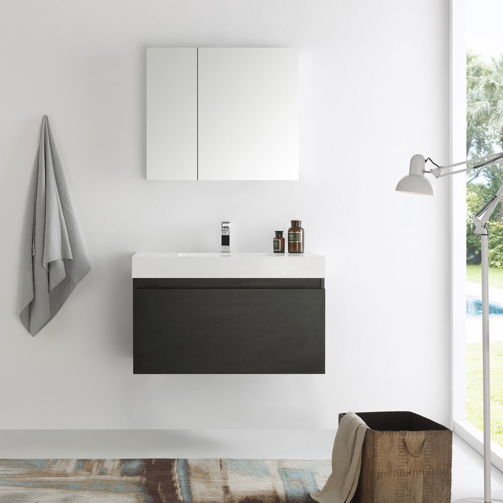 """Picture of Fresca Mezzo 36"""" Black Wall Hung Modern Bathroom Vanity with Medicine Cabinet"""