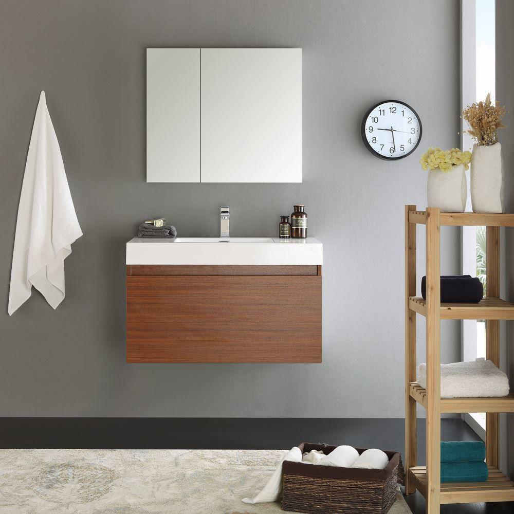 "Picture of Fresca Mezzo 36"" Teak Wall Hung Modern Bathroom Vanity with Medicine Cabinet"