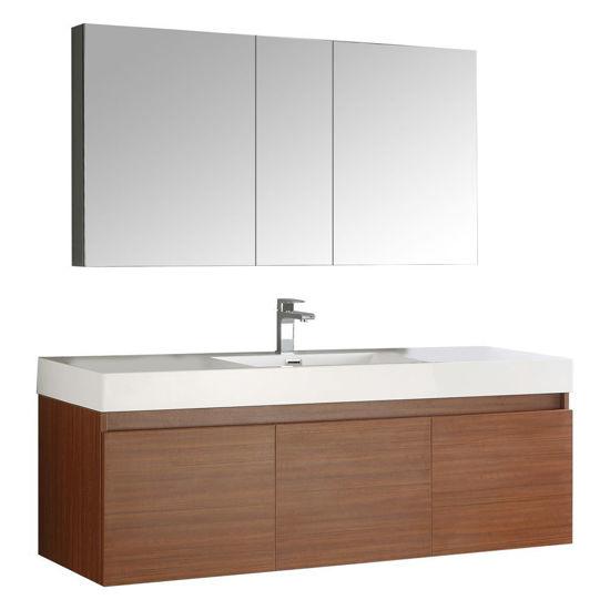 "Picture of Fresca Mezzo 59"" Teak Wall Hung Single Sink Modern Bathroom Vanity with Medicine Cabinet"