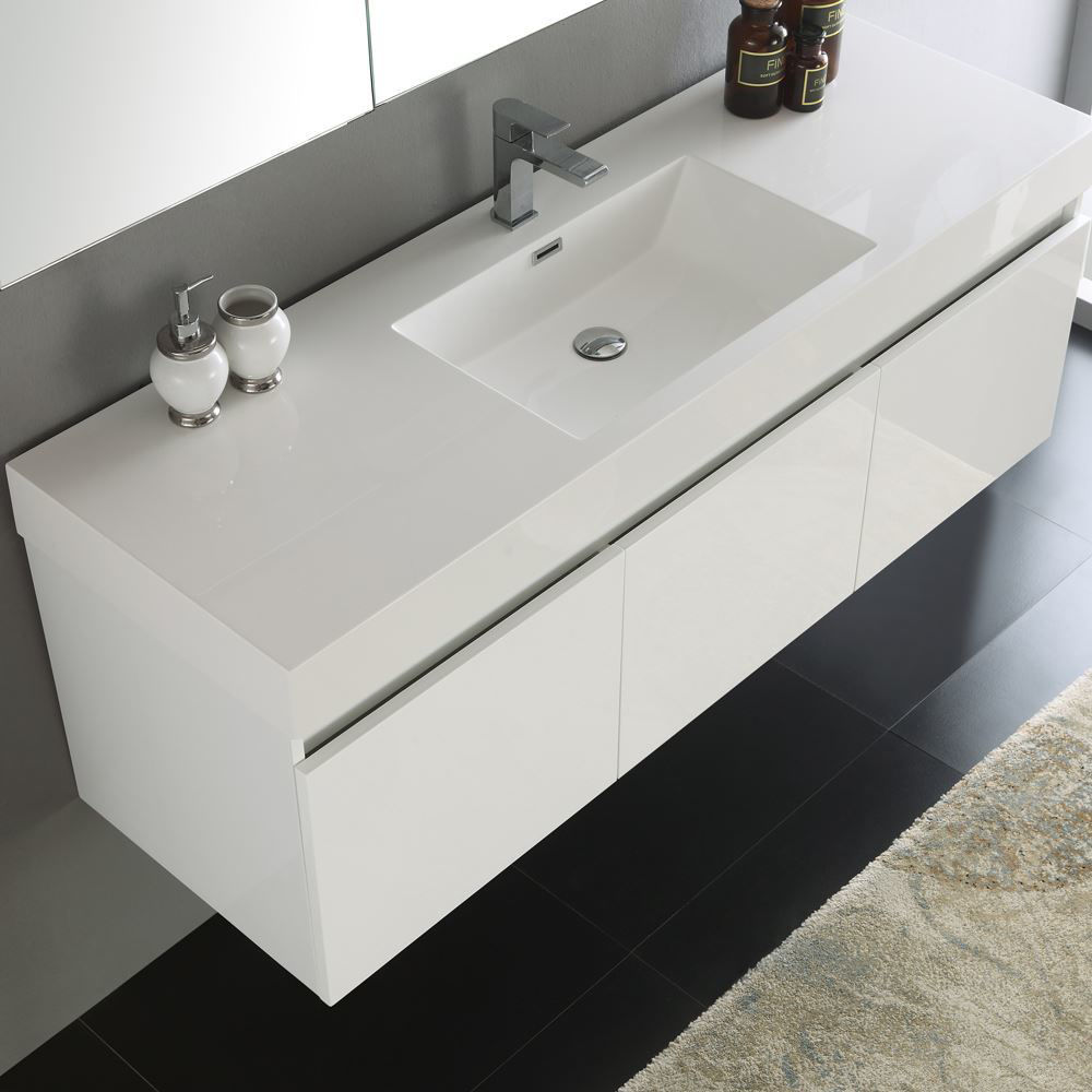 """Picture of Fresca Mezzo 59"""" White Wall Hung Single Sink Modern Bathroom Vanity with Medicine Cabinet"""