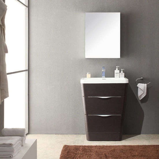 """Picture of Fresca Milano 26"""" Modern Bathroom Vanity in a Chestnut Finish with Medicine Cabinet and Faucet"""