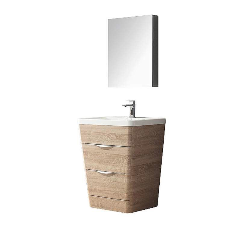 """Picture of Fresca Milano 26"""" Modern Bathroom Vanity in a White Oak Finish with Medicine Cabinet and Faucet"""