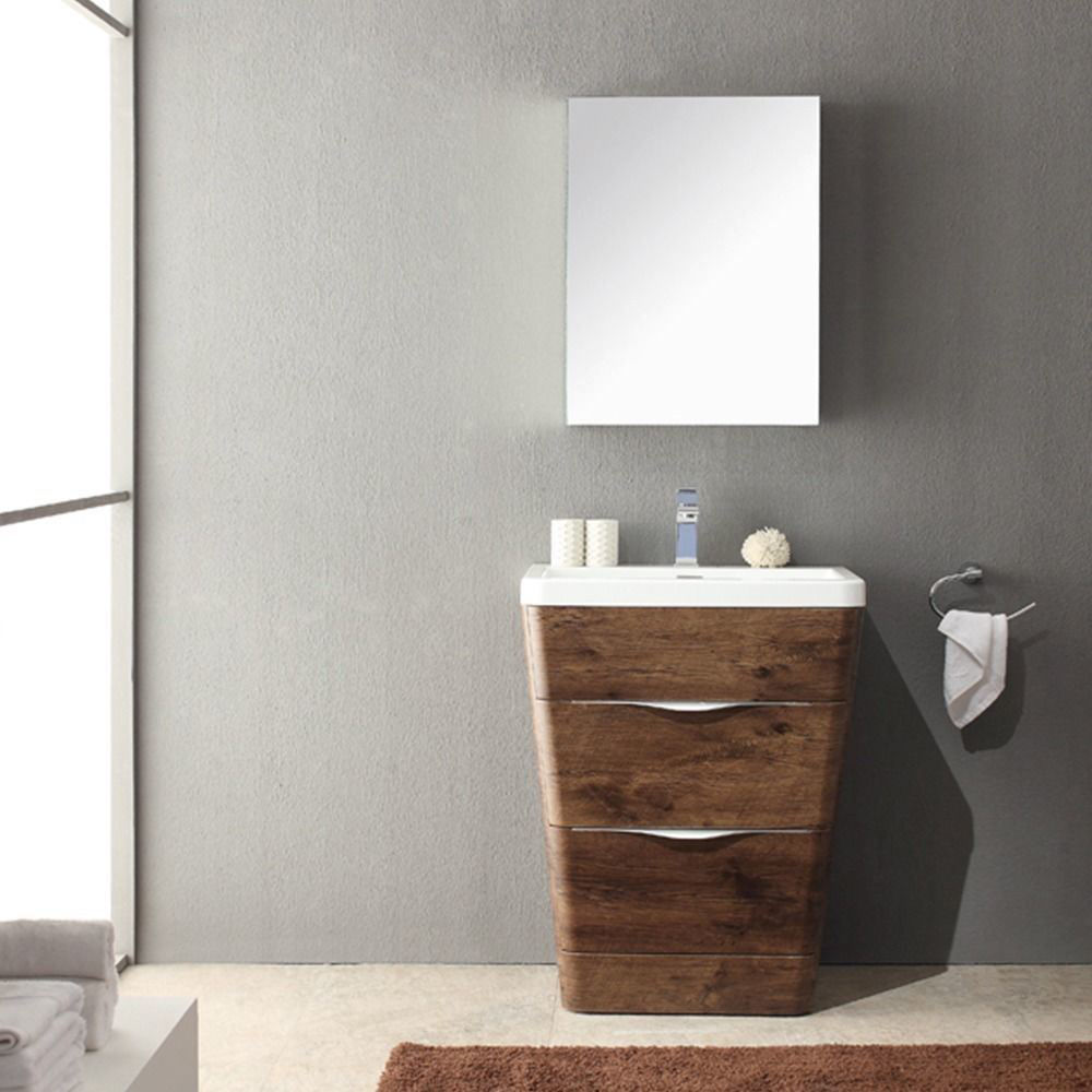 """Picture of Fresca Milano 32"""" Modern Bathroom Vanity in a Rosewood Finish with Medicine Cabinet and Faucet"""