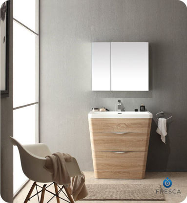 "Picture of Fresca Milano 32"" Modern Bathroom Vanity in a White Oak Finish with Medicine Cabinet and Faucet"