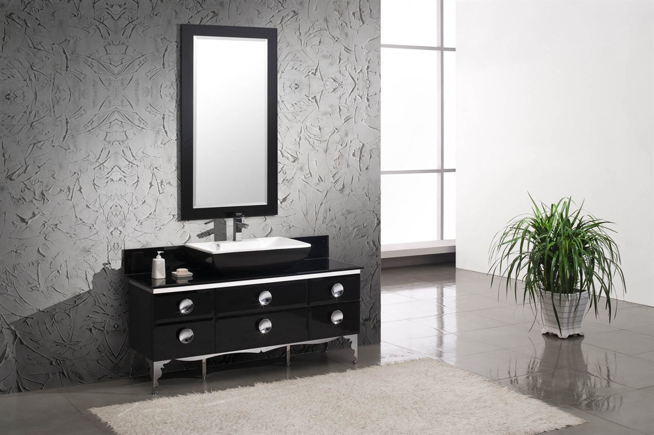 """Picture of Fresca Moselle 59"""" Modern Glass Bathroom Vanity with Mirror"""