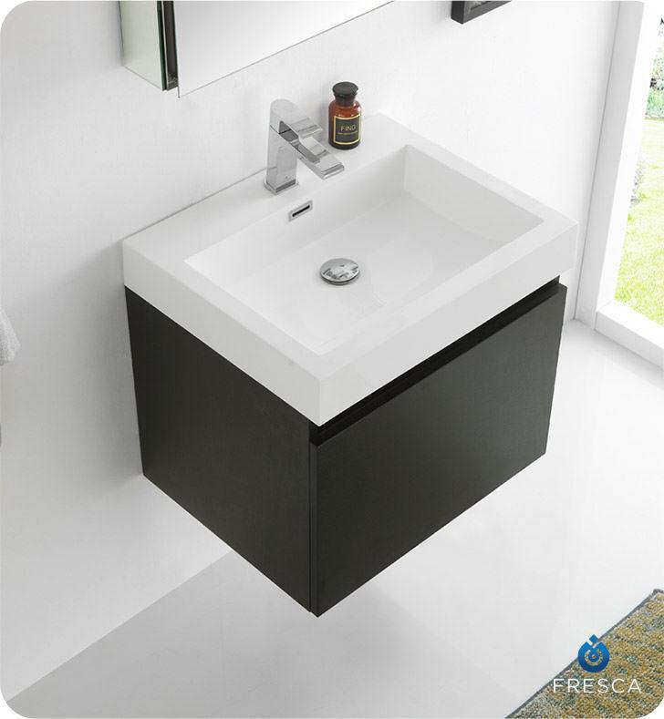 "Picture of Fresca Nano 24"" Black Modern Bathroom Vanity with Medicine Cabinet"