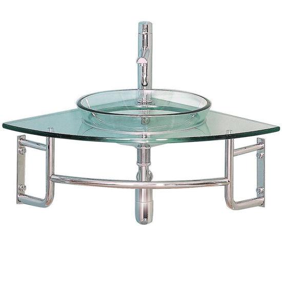 "Picture of Fresca Ordinato 34"" Corner Mount Modern Glass Bathroom Vanity"