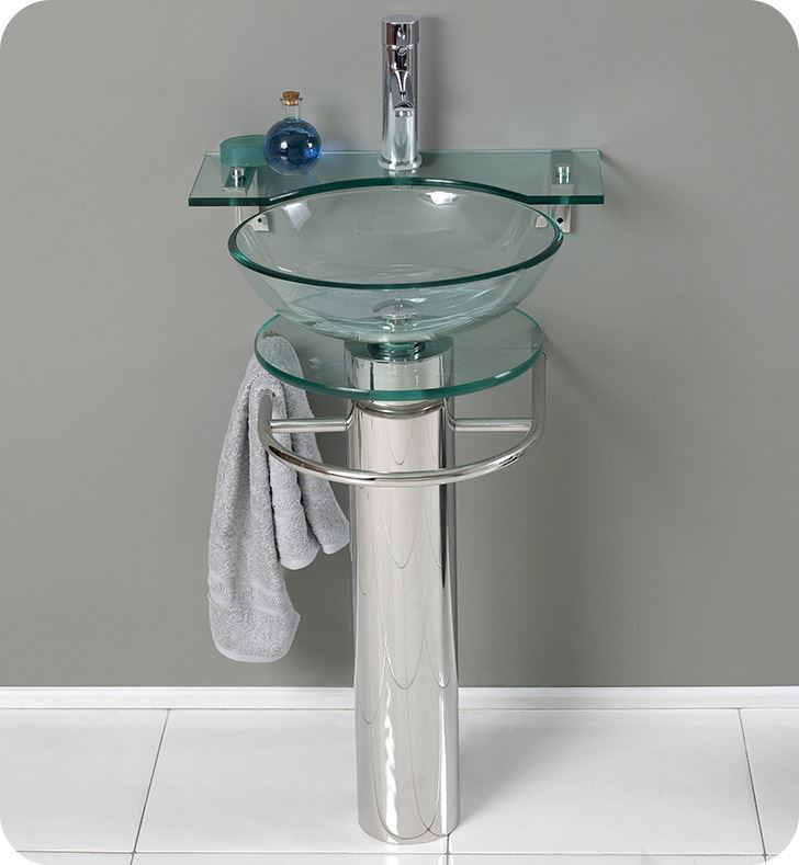 """Picture of Fresca Ovale 24"""" Modern Glass Bathroom Vanity with Frosted Edge Mirror"""