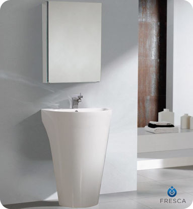 """Picture of Fresca Parma 24"""" White Pedestal Sink with Medicine Cabinet"""