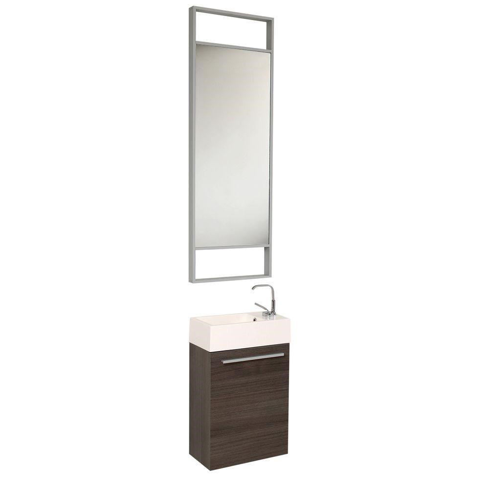"""Picture of Fresca Pulito 16"""" Small Gray Oak Modern Bathroom Vanity with Tall Mirror"""