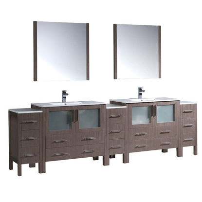 """Picture of Fresca Torino 108"""" Gray Oak Modern Double Sink Bathroom Vanity with 3 Side Cabinets and Integrated Sinks"""