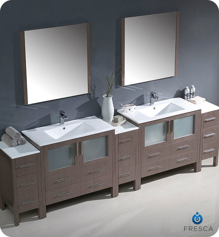 "Picture of Fresca Torino 108"" Gray Oak Modern Double Sink Bathroom Vanity with 3 Side Cabinets and Integrated Sinks"