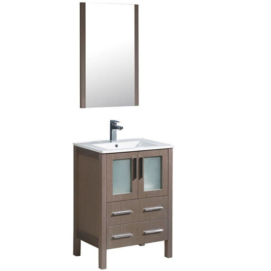 """Picture of Fresca Torino 24"""" Gray Oak Modern Bathroom Vanity with Integrated Sink"""