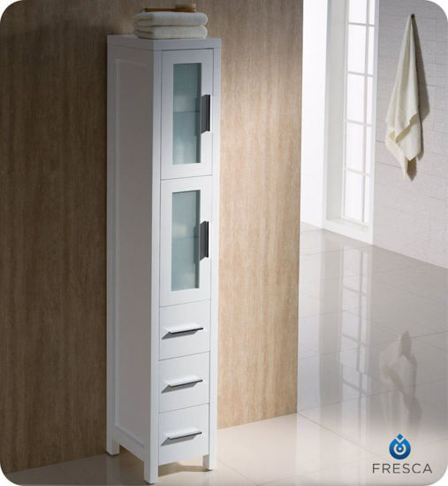 Picture of Fresca Torino White Tall Bathroom Linen Side Cabinet