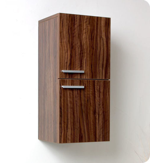 Picture of Fresca Walnut Bathroom Linen Side Cabinet w/ 2 Storage Areas