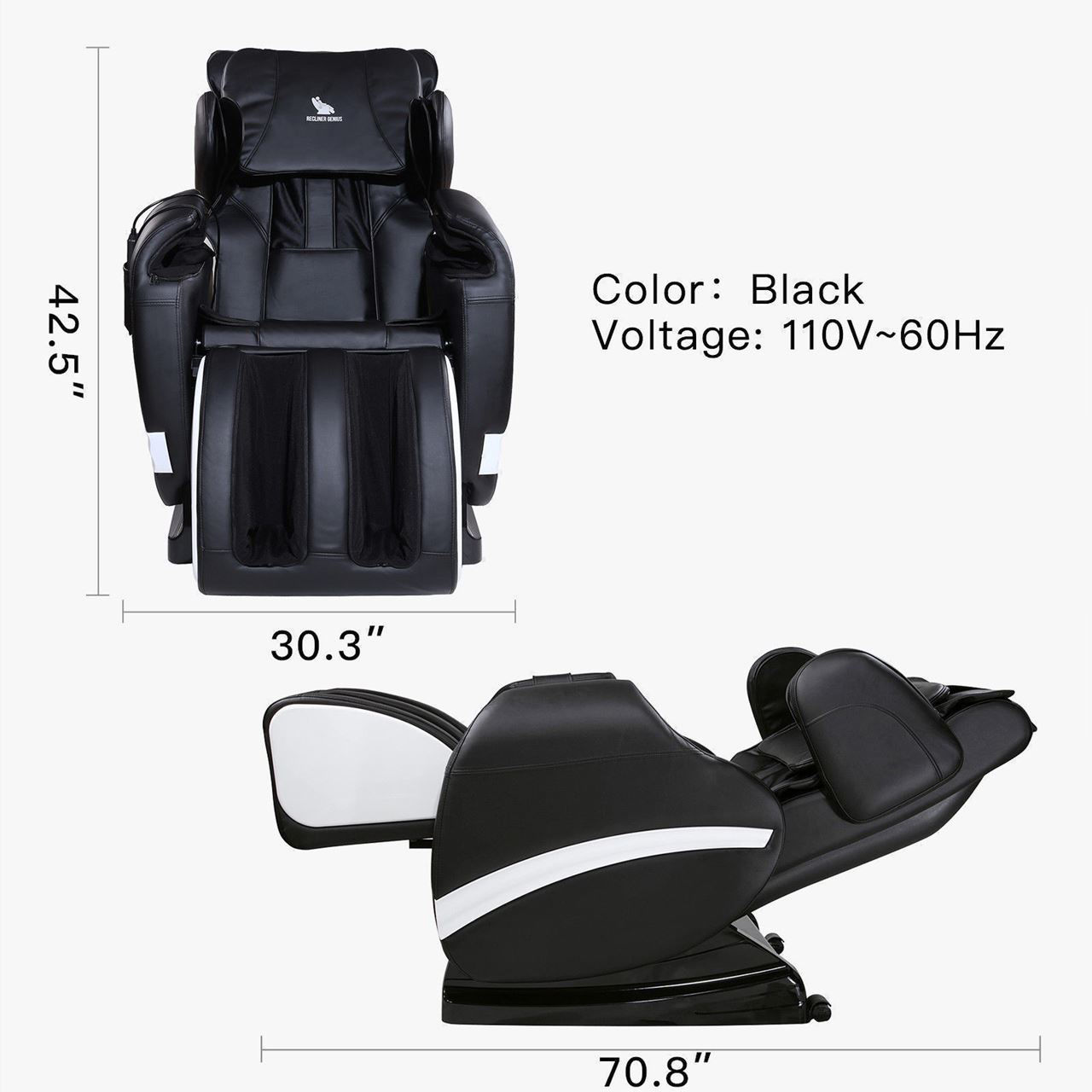 Picture of Full body Shiatsu Recliner Massage Chair with Heat - Black